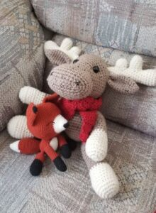 Among my many crochet creations are this moose and fox